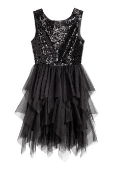 Sequin-embroidered tulle dress