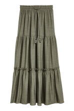 Long tiered skirt - Dark khaki green - Ladies | H&M CN 2
