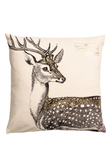 Christmas-print cushion cover - Natural white/Deer - Home All | H&M CN 1