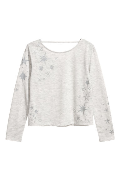 Long-sleeved jersey top - Light grey marl/Stars - Kids | H&M