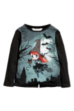Printed jersey top - Black/Witch - Kids | H&M CN 2