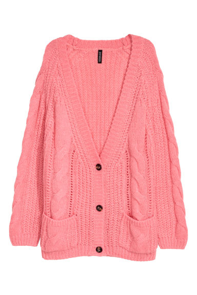 Cable-knit cardigan - Pink -  | H&M