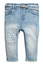 Jeans with belt - Light blue -  | H&M 1