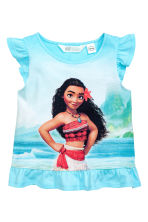 Printed jersey top - Turquoise/Moana -  | H&M CN 2