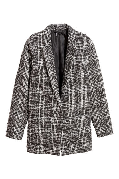 Wool-blend jacket - Black/Patterned -  | H&M