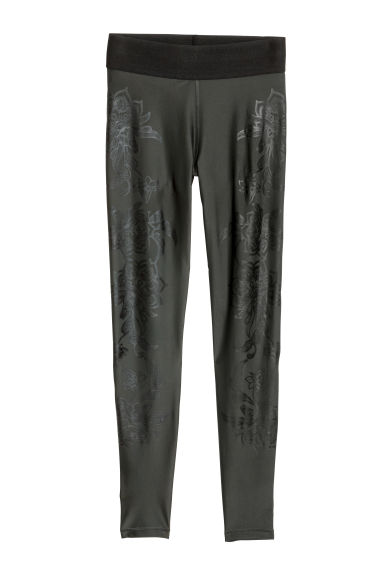 Sports tights - Dark green/Floral - Ladies | H&M