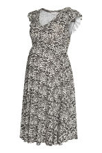MAMA Ruffle-sleeved Dress - Natural white/patterned - Ladies | H&M CA 2