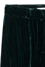 Wide velvet trousers - Dark khaki green - Ladies | H&M CN 3