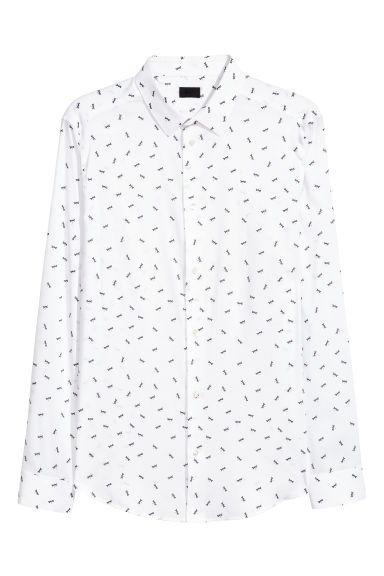 Poplin shirt Slim fit - White/Patterned -  | H&M IE
