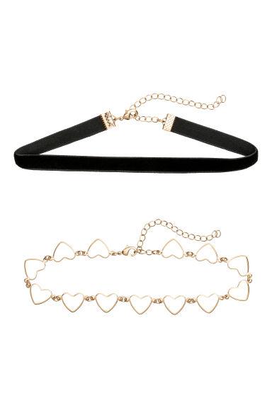 2-pack Choker Necklaces - Black - Ladies | H&M CA