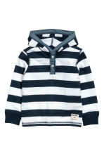 Jersey hooded top - Dark blue/White striped -  | H&M 2
