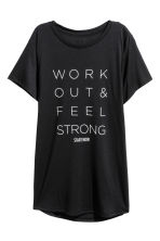 Printed sports top - Black - Ladies | H&M IE 2