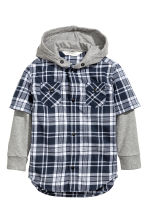 Hooded shirt - Blue/Checked -  | H&M 2