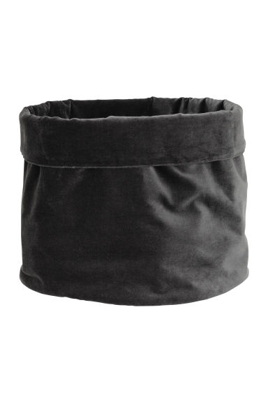 Velvet storage basket - Dark grey - Home All | H&M IE 1