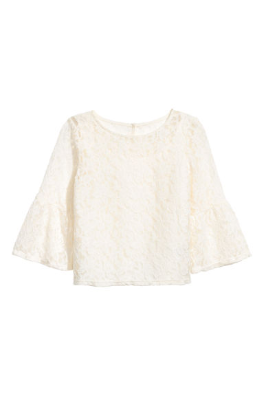 Trumpet-sleeved blouse - White/Lace - Kids | H&M