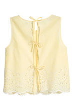 Cotton blouse with embroidery - Light yellow - Ladies | H&M CN 3
