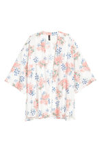 Satin kimono - Natural white/Floral - Ladies | H&M IE 2