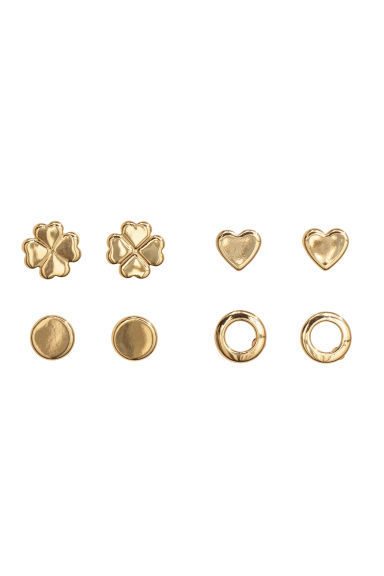 4 pairs stud earrings - Gold-coloured - Ladies | H&M IE