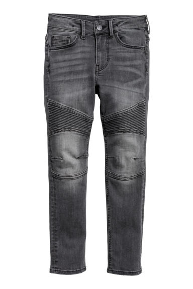 Skinny fit Biker jeans - Black washed out -  | H&M