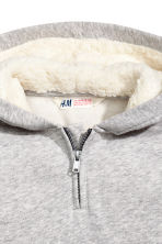 Top with a pile-lined hood - Light grey marl -  | H&M CN 3