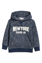 Hooded Sweatshirt with Motif - Dark blue melange - Kids | H&M CA 2