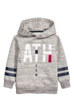 Sweat-shirt à capuche et motif - Gris chiné - ENFANT | H&M BE 2