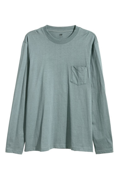 Top de manga larga Loose fit - Gris verdoso -  | H&M ES
