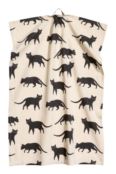 Patterned tea towel - White/Cats - Home All | H&M CN