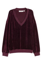 Velour sweatshirt - Plum - Ladies | H&M IE 2