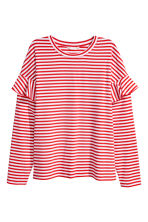 Jersey Top with Ruffles - Red/white striped - Ladies | H&M CA 2