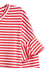 Jersey Top with Ruffles - Red/white striped - Ladies | H&M CA 3