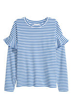 Jersey top with flounces - Blue/White striped - Ladies | H&M 2