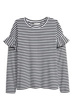 Jersey top with flounces - Black/White striped - Ladies | H&M 2