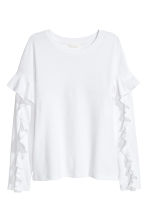 Tricot top met volants - Wit - DAMES | H&M NL 2