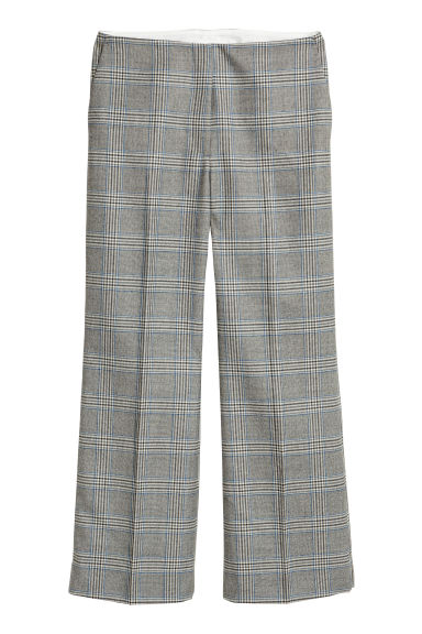 Wide wool-blend suit trousers - Grey/Checked - Ladies | H&M