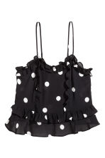 Flounced strappy top - Black/White spotted - Ladies | H&M CN 2