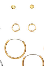 9 pairs earrings - Gold-/Silver-/Rose gold-colour - Ladies | H&M CN 2