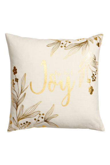 Christmas-print cushion cover - White/Gold-coloured - Home All | H&M GB