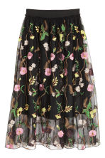 Mesh skirt with embroidery - Black/Floral - Ladies | H&M 2
