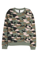 Sweatshirt with Printed Design - Khaki green/patterned - Ladies | H&M CA 2