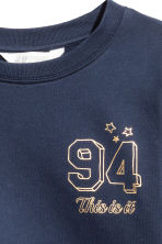 Printed sweatshirt - Dark blue/Text print -  | H&M 4