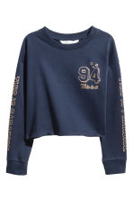 Printed sweatshirt - Dark blue/Text print -  | H&M 2
