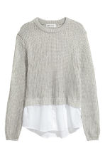 Ribbed jumper - Grey marl/White - Kids | H&M 2