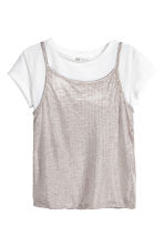 Double-layered top - White/Silver-coloured - Kids | H&M 2