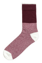 Jacquard-knit socks - Burgundy - Men | H&M GB 1