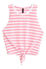 Tie vest top - White/Pink striped - Ladies | H&M 2