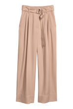 Wide lyocell trousers - Light beige - Ladies | H&M CN 2