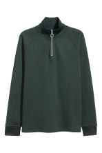 Top with stand-up collar - Dark green - Men | H&M CN 2