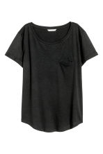 Slub jersey T-shirt - Black - Ladies | H&M 1