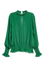 Crinkled chiffon blouse - Green - Ladies | H&M CN 2